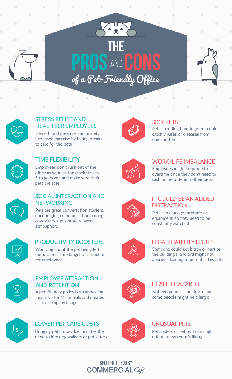 An infographic with a list of pros and cons of a pet friendly office.