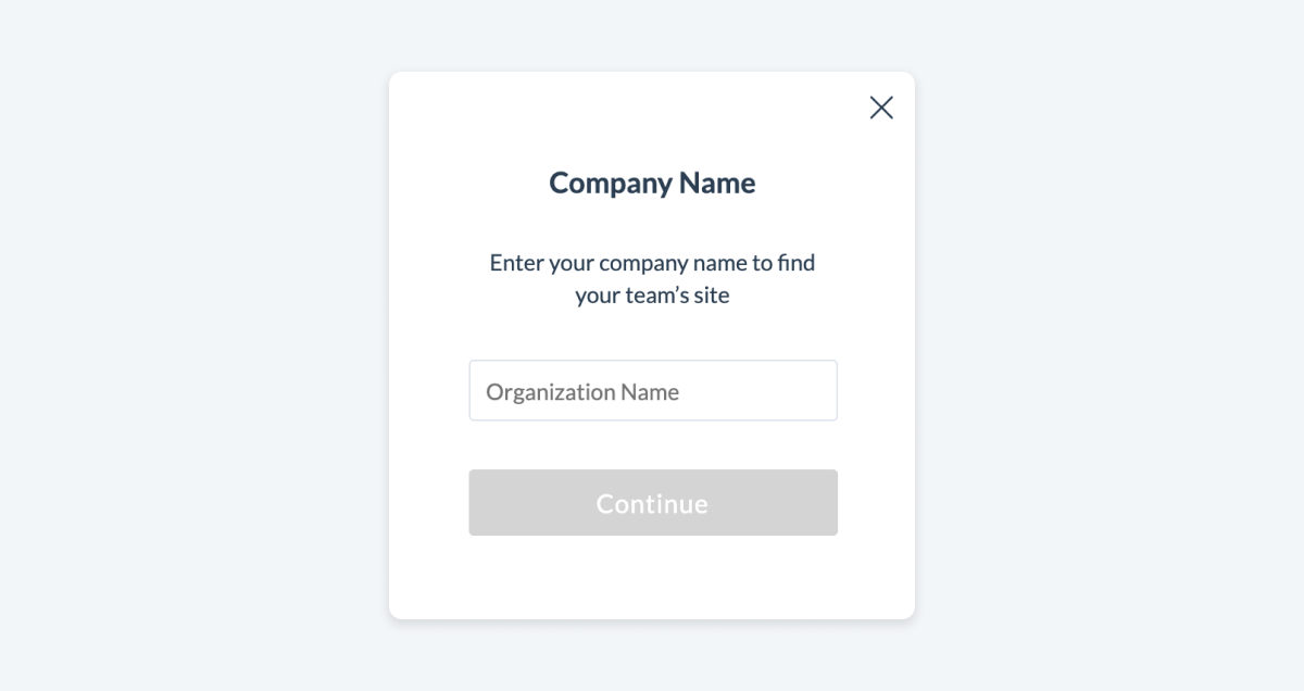 Pop-up asking user to enter their company name to log in.